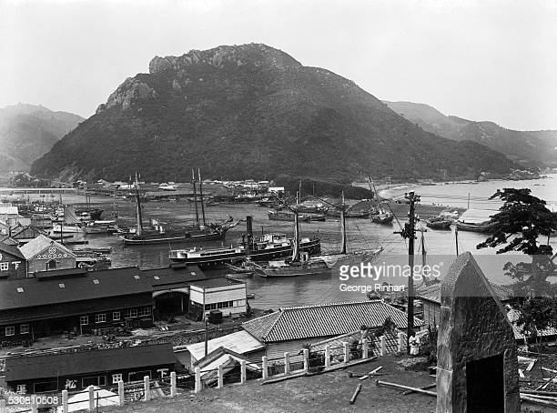 The busy harbor of Shimoda Japan a thriving seaport