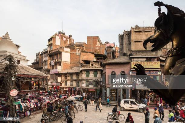 The busy Indra Chowk intersection in the heart of Kathmandu old town in Nepal
