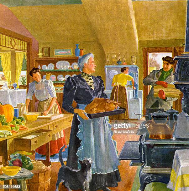 The busy kitchen of an early American home filled with activity in preparation for the Thanksgiving meal Screen print 1944