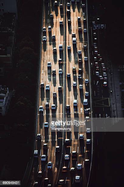 the busy traffic in Shanghai