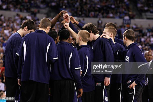 The Butler Bulldogs huddle up prior to playing against the Duke Blue Devils during the 2010 NCAA Division I Men's Basketball National Championship...