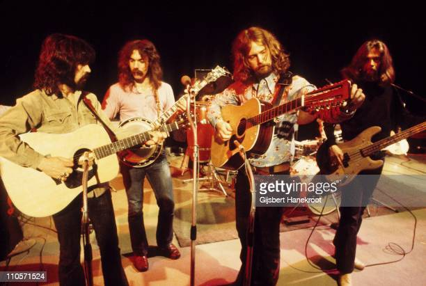 The Byrds perform live on stage in London in 1971 Left to Right Clarence White Gene Parsons Roger McGuinn Skip Battin