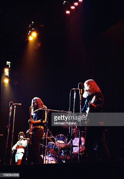 The Byrds perform on stage at the Rainbow Theatre London 16th January 1972 LR Clarence White Skip Battin Gene Parsons Roger McGuinn