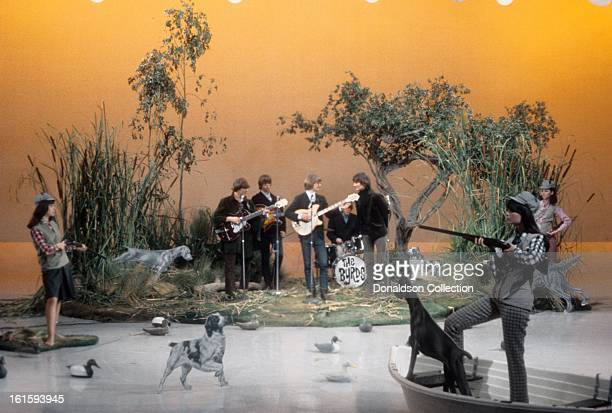 The Byrds perform on the NBC TV music show 'Hullabaloo' in November 1965 in New York City New York
