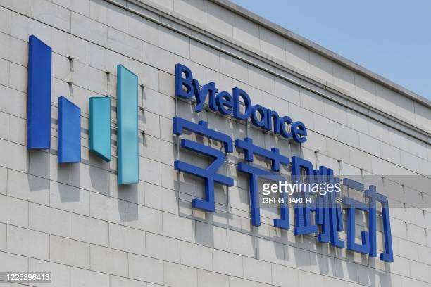 The ByteDance logo is seen on the ByteDance headquarters building in Beijing on July 8, 2020. - Video sharing app TikTok, which is owned by Chinese...