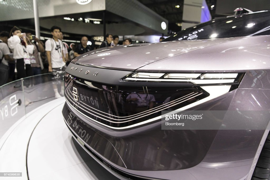 The Byton K-Byte concept vehicle stands on display at the CES Asia 2018 show in Shanghai, China, on Wednesday, June 13, 2018. The show runs through June 15. Photographer: Qilai Shen/Bloomberg via Getty Images