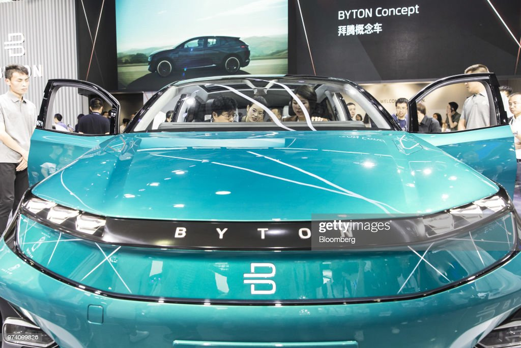 The Byton M-Byte concept vehicle stands on display at the CES Asia 2018 show in Shanghai, China, on Wednesday, June 13, 2018. The show runs through June 15. Photographer: Qilai Shen/Bloomberg via Getty Images