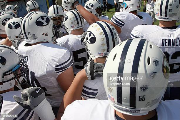 The BYU Cougars huddle before the game against the UCLA Bruins on September 8, 2007 at the Rose Bowl in Pasadena, California. UCLA won 27-17.