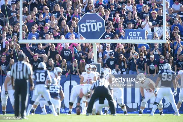 The BYU fan student section cheers during a 3rd down during a college football game between the Northern Illinois Huskies and the BYU Cougars on...