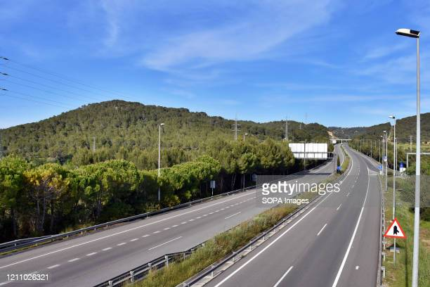 The C32 motorway completely empty during confinement 43 days since the government of Spain decreed the state of alarm and confinement due to the...