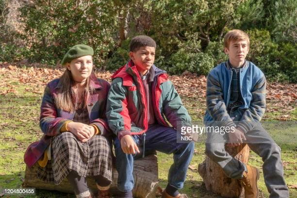 "The Cabin"" Episode 412 -- Pictured: Mackenzie Hancsicsak as Kate, Lonnie Chavis as Randall, Parker Bates as Kevin --"