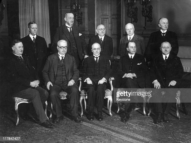 The cabinet formed by Weimar Republic Chancellor Dr Heinrich Bruning, pose for a group portrait Minister of Interior Joseph Wirth , Vice Chancellor...
