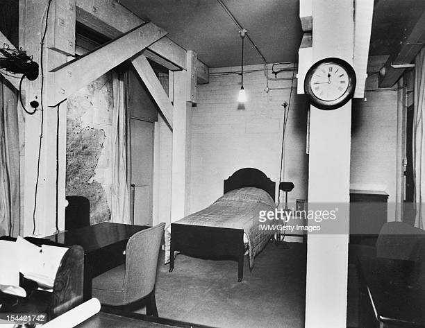The Cabinet War Rooms, The Prime Minister's combined office and bedroom in the Cabinet War Rooms, circa 1942.