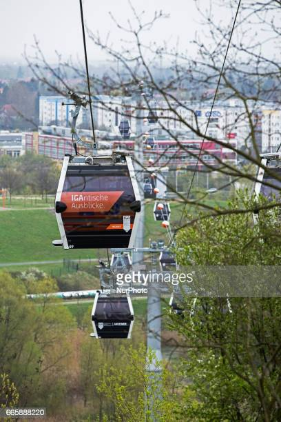 The cable car is pictured during a press preview of the IGA 2017 in Berlin Germany on April 7 2017 Last arrangements are being done for the...