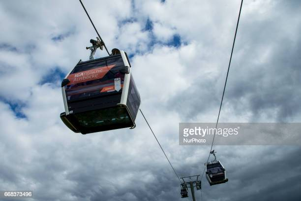 The cable car is pictured during the opening of the IGA 2017 in Berlin Germany on April 13 2017 The exhibition will open from April 13 until October...