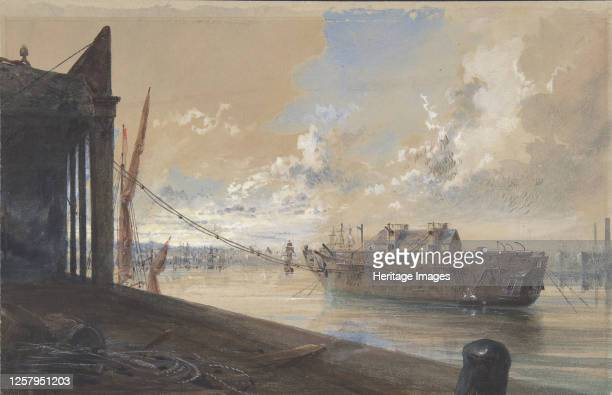 The Cable Passed From the Works into the Hulk Lying in the Thames at Greenwich 186566 Artist Robert Charles Dudley