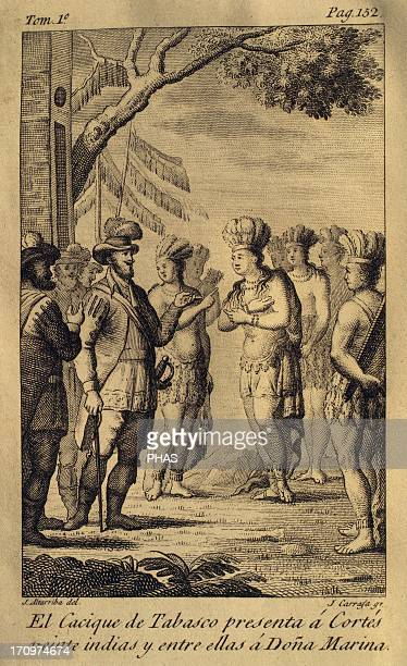 The cacique of Tabasco presents to Hernan Cortes twenty Indian and between they Dona Marina Engraving 1825