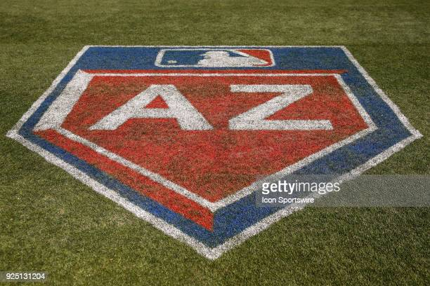 The Cactus League logo during the spring training baseball game between the Los Angeles Angels and the Colorado Rockies on February 27 2018 at Salt...