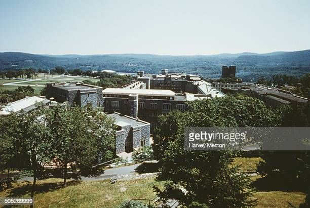 The cadet barracks of the United States Military Academy at West Point New York State USA as seen from the chapel circa 1965