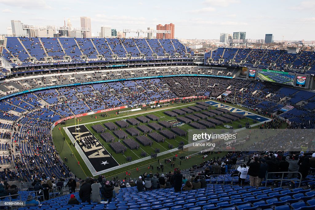 The Cadets of West Point stand at attention during their ceremonial march-on prior to the game between the Navy Midshipmen and the Army Black Nights at M&T Bank Stadium on December 10, 2016 in Baltimore, Maryland.