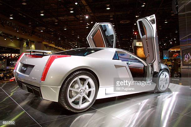 The Cadillac Crien concept vehicle sits on display at the General Motors exhibit January 8 2002 at the North American International Auto Show in...