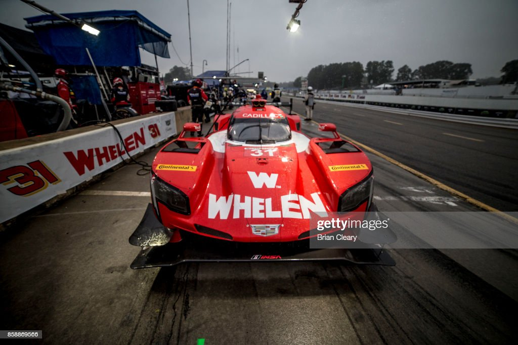 The #31 Cadillac DPi of Dane Cameron, Eric Curran, and Michael Conway, of Great Britain, is shown in the pits before the Motul Petit Le Mans at Road Atlanta on October 7, 2017 in Braselton, Georgia.