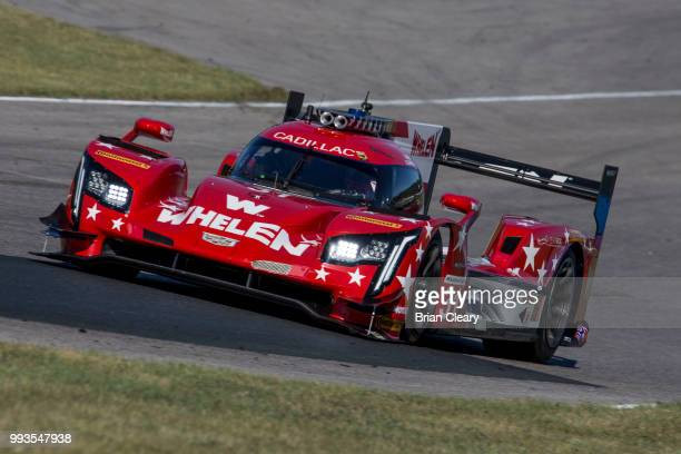 The Cadillac DPi of Eric Curran and Felipe Nasr of Brazil races on the track during practice for the IMSA WeatherTech Series race at Canadian Tire...