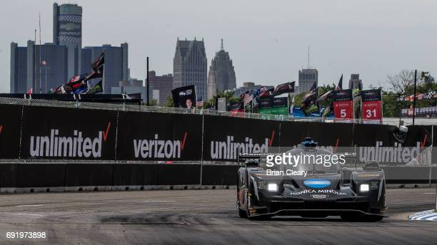 The Cadillac DPi of Ricky Taylor and Jordan Taylor races to victory during the IMSA WeatherTech Series race at the Detroit Grand Prix at Belle Isle...