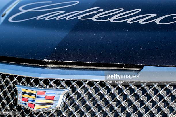 The Cadillac logo emblem is displayed on a race car in the paddock before the Pirelli World Challenge GT race at Barber Motorsports Park on April 23...