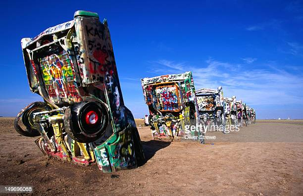 The Cadillac Ranch at Amarillo Texas - 'a monument to the rise and fall of the Cadillac tail fin'.