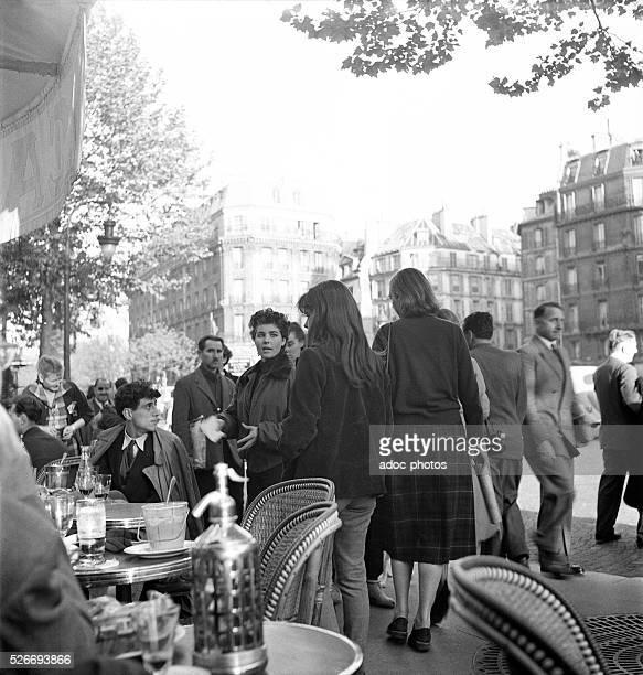 """The """"Cafe de Flore"""" in the Saint-Germain-des-Pr��s district in Paris . In 1950."""