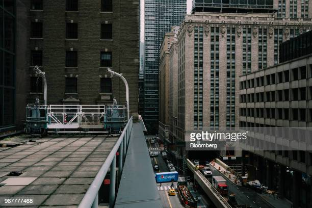 The cafeteria terrace left is seen during renovations of the Bank of America Plaza building the former Biltmore Hotel at 335 Madison Avenue in New...