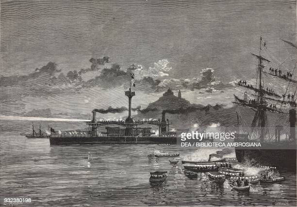 The Caio Duilio battleship in Ancona festivities in its honor Italy drawing by Edoardo Matania engraving from L'Illustrazione Italiana No 35 August...