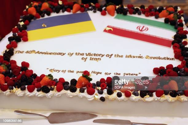 The cake of the 40th Anniversary of the victory of the Islamic Revolution of Iran seen during an hosting event by the embassy of the Islamic Republic...