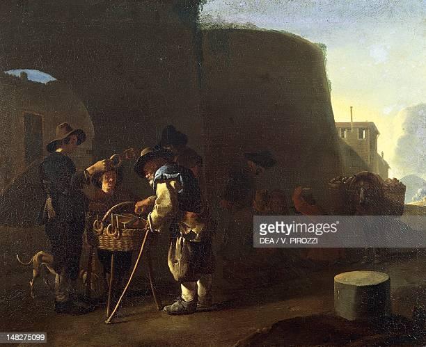 The Cake Seller by Pieter van Laer . ; Rome, Galleria Nazionale D'Arte Antica Di Palazzo Corsini .
