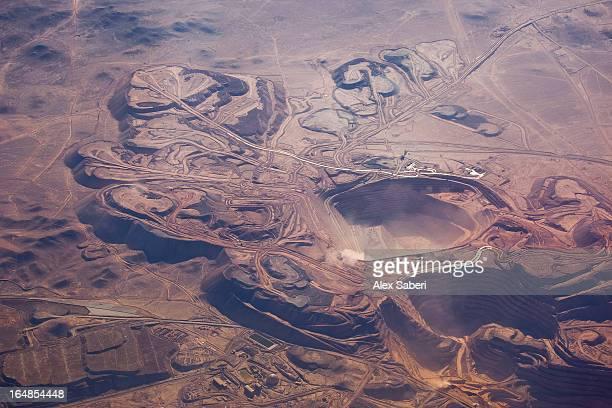 the calama mines in atacama desert, viewed from an aircraft. - alex saberi imagens e fotografias de stock