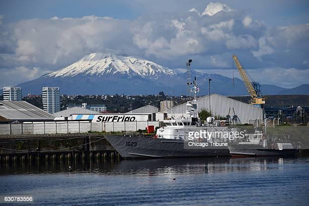 The Calbuco Volcano is a familiar backdrop in Puerto Montt's harbor