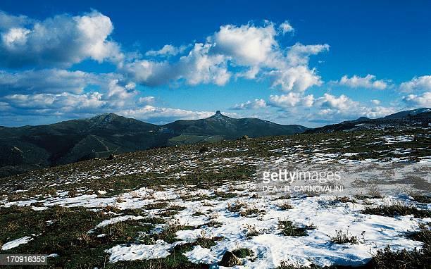 The calcareous formations of Monte Perda Liana near Gairo Gulf of Orosei and Gennargentu National Park Sardinia Italy