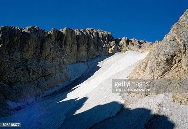 The Calderone glacier, on the northern slope of the Corno Grande mountain, Gran Sasso and Monti della Laga National Park, Abruzzo, Italy.