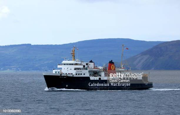 The Caledonian MacBrayne Car Ferry sailing out of the port of Brodick to Ardrossan on the Scottish mainland on July 24 2018 in Brodick Isle of Arran...
