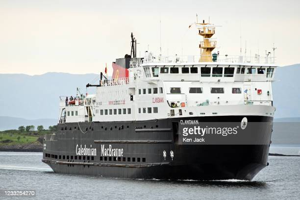 The Caledonian MacBrayne vessel MV Clansman approaches Oban Ferry Terminal, as the company's services return to normal, on June 3, 2021 in Oban,...