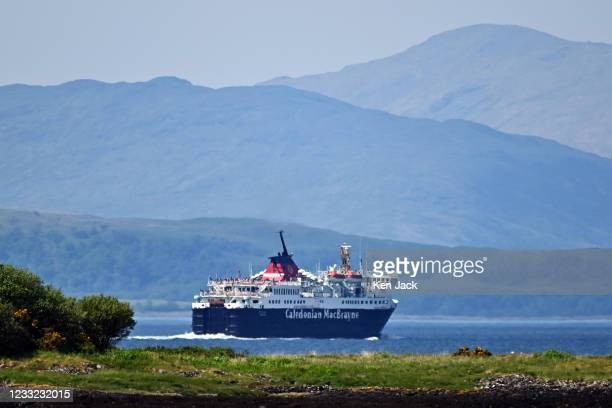 The Caledonian Macbrayne vessel MV Isle of Mull leaves Oban, with the hills of the Mull in the background, as the company's services return to...
