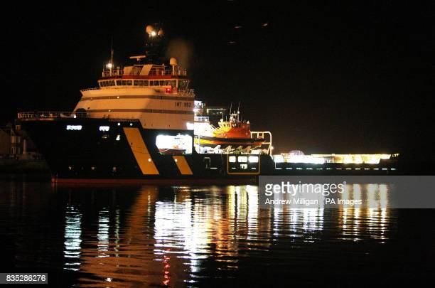 The Caledonian Victory vessel arriving at Aberdeen Harbour early this morning The boat was carrying the bodies of the people who were killed in the...