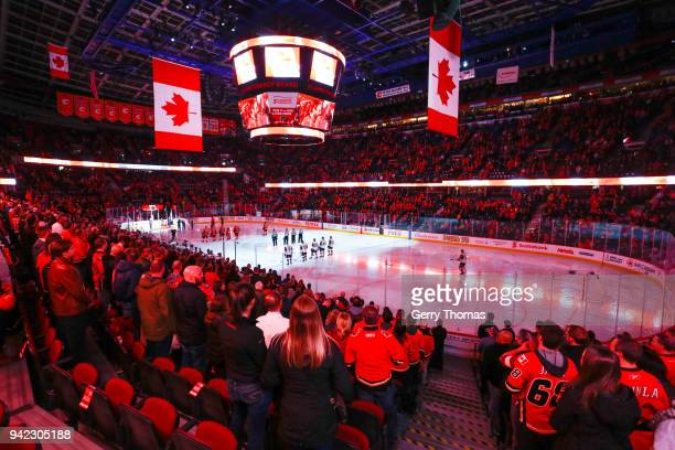 The Calgary Flames and the Arizona Coyotes at the opening of an NHL game on April 3 2018 at the Scotiabank Saddledome in Calgary Alberta Canada
