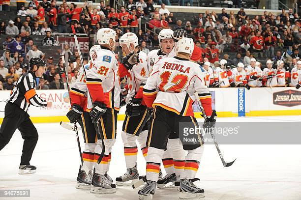 The Calgary Flames celebrate a goal against the Los Angeles Kings at Staples Center on November 21, 2009 in Los Angeles, California.