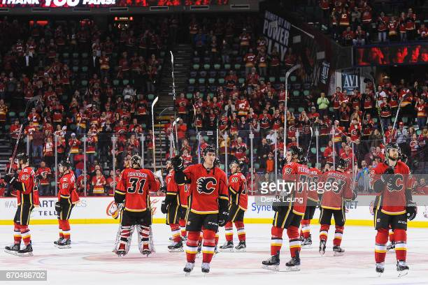 The Calgary Flames salute the crowd after being defeated by the Anaheim Ducks in Game Four of the Western Conference First Round during the 2017 NHL...