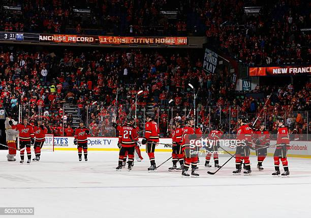 The Calgary Flames set a new franchise record of 11 consecutive home wins against the Edmonton Oilers at Scotiabank Saddledome on December 27 2015 in...