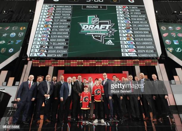 The Calgary Flames staff pose following the 2018 NHL Draft at American Airlines Center on June 23 2018 in Dallas Texas