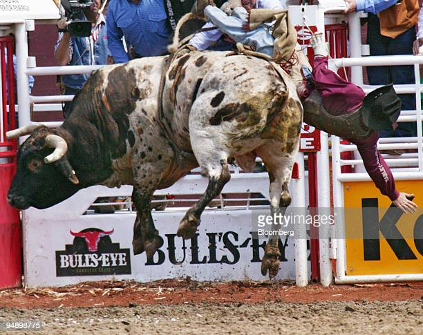 The Calgary Stampede superstar bull Outlaw closes trading on the floor of New York Stock Exchange from Calgary Canada July 9 ringing the bell hung...