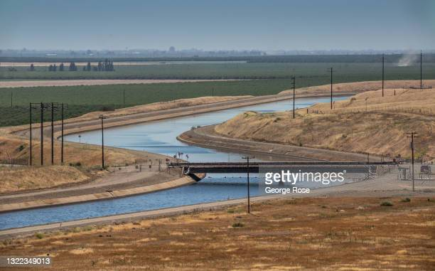 The California Aqueduct is viewed from a vista point along Interstate 5 on May 31 near Patterson, California. Due to a lack of rain around the state...